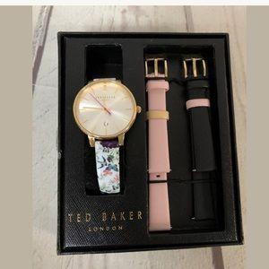 TED BAKER Gold Butterfly Bird Watch Set